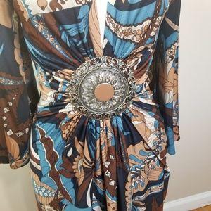 Sky brand 100% silk dress with medallion detail
